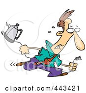 Royalty Free RF Clip Art Illustration Of A Cartoon Distressed Businessman Running With A Coffee Pot