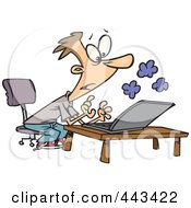 Royalty Free RF Clip Art Illustration Of A Cartoon Young Man Using A Smoking Laptop by toonaday