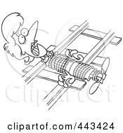 Royalty Free RF Clip Art Illustration Of A Cartoon Black And White Outline Design Of A Damsel In Distressed Tied To Railroad Tracks