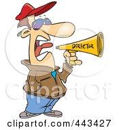 Royalty Free RF Clip Art Illustration Of A Cartoon Movie Director Using A Bullhorn by toonaday