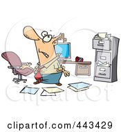 Royalty Free RF Clip Art Illustration Of A Cartoon Disorganized Businessman In A Messy Office