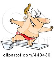 Royalty Free RF Clip Art Illustration Of A Cartoon Chubby Man On A Diving Board