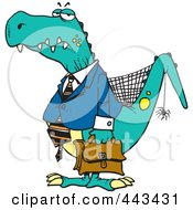 Royalty Free RF Clip Art Illustration Of A Cartoon Old Business Dinosaur