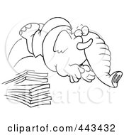 Royalty Free RF Clip Art Illustration Of A Cartoon Black And White Outline Design Of An Elephant Jumping Off A Diving Board