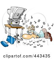 Royalty Free RF Clip Art Illustration Of Cartoon Binary Code Shooting Out At A Businessman