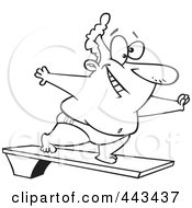 Royalty Free RF Clip Art Illustration Of A Cartoon Black And White Outline Design Of A Chubby Man On A Diving Board