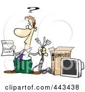 Royalty Free RF Clip Art Illustration Of A Cartoon Businesman Trying To Assemble A Computer
