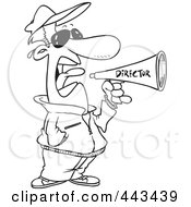 Royalty Free RF Clip Art Illustration Of A Cartoon Black And White Outline Design Of A Movie Director Using A Bullhorn by toonaday