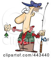 Royalty Free RF Clip Art Illustration Of A Cartoon Disappointed Fisherman With A Tiny Fish by toonaday