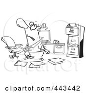 Royalty Free RF Clip Art Illustration Of A Cartoon Black And White Outline Design Of A Disorganized Businessman In A Messy Office
