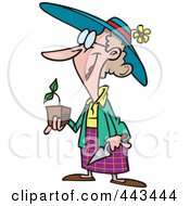 Royalty Free RF Clip Art Illustration Of A Cartoon Woman Holding A Seedling Plant by toonaday