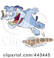 Royalty Free RF Clip Art Illustration Of A Cartoon Bulldog Jumping Off Of A Diving Board by toonaday