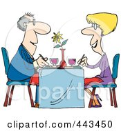 Royalty Free RF Clip Art Illustration Of A Cartoon Couple Dining At A Restaurant by toonaday