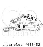 Royalty Free RF Clip Art Illustration Of A Cartoon Black And White Outline Design Of A Diesel Tram