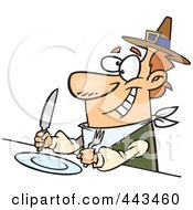 Royalty Free RF Clip Art Illustration Of A Cartoon Hungry Pilgrim Awaiting His Dinner by toonaday