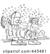 Royalty Free RF Clip Art Illustration Of A Cartoon Black And White Outline Design Of Diehard Fans Sitting In The Snow by toonaday