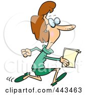 Royalty Free RF Clip Art Illustration Of A Cartoon Businesswoman Running With Documents