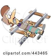 Royalty Free RF Clip Art Illustration Of A Cartoon Damsel In Distressed Tied To Railroad Tracks