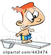 Royalty Free RF Clip Art Illustration Of A Cartoon Scared Boy On A Diving Board