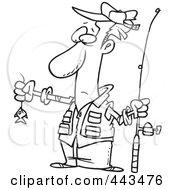 Royalty Free RF Clip Art Illustration Of A Cartoon Black And White Outline Design Of A Disappointed Fisherman With A Tiny Fish