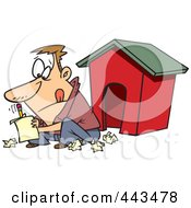 Royalty Free RF Clip Art Illustration Of A Cartoon Man Writing A Letter By A Dog House