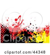 Royalty Free RF Clip Art Of Grungy Background With Yellow Black And Red Splatters On White by michaeltravers