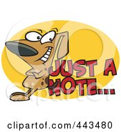 Royalty Free RF Clip Art Illustration Of A Cartoon Dog Leaning Against Just A Note Text