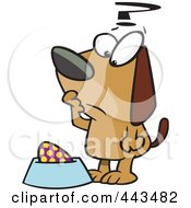 Royalty Free RF Clip Art Illustration Of A Cartoon Confused Dog Staring At An Egg In His Dish