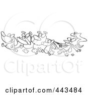 Royalty Free RF Clip Art Illustration Of A Cartoon Black And White Outline Design Of A Female Dog Walker
