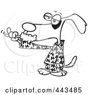 Cartoon Black And White Outline Design Of A Dog Brushing His Teeth