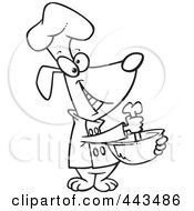 Royalty Free RF Clip Art Illustration Of A Cartoon Black And White Outline Design Of A Chef Dog Mixing With A Bone