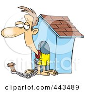 Royalty Free RF Clip Art Illustration Of A Cartoon Man Chained By A Dog House