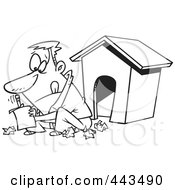 Royalty Free RF Clip Art Illustration Of A Cartoon Black And White Outline Design Of A Man Writing A Letter By A Dog House