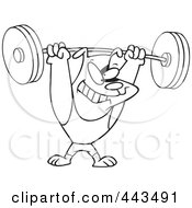 Royalty Free RF Clip Art Illustration Of A Cartoon Black And White Outline Design Of A Dog Lifting Weights