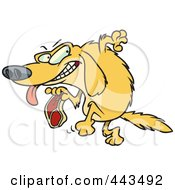 Royalty Free RF Clip Art Illustration Of A Cartoon Golden Retriever Stealing A Steak