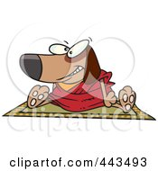 Royalty Free RF Clip Art Illustration Of A Cartoon Doggie Lama Sitting On A Rug