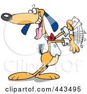 Royalty Free RF Clip Art Illustration Of A Cartoon Dog Shuffling Playing Cards by toonaday
