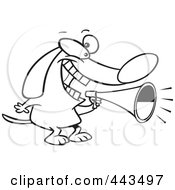 Royalty Free RF Clip Art Illustration Of A Cartoon Black And White Outline Design Of A Dog Using A Megaphone