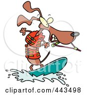 Royalty Free RF Clip Art Illustration Of A Cartoon Wakeboarding Wiener Dog