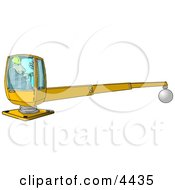 Male Construction Worker Operating A Heavy Equipment Crane Clipart by Dennis Cox
