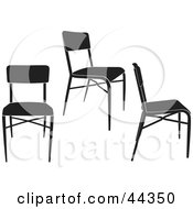 Three Black And White Simple Chairs