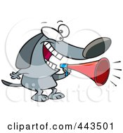 Royalty Free RF Clip Art Illustration Of A Cartoon Dog Using A Megaphone by toonaday