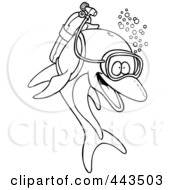 Royalty Free RF Clip Art Illustration Of A Cartoon Black And White Outline Design Of A Scuba Dolphin by toonaday