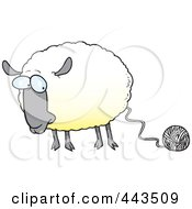 Royalty Free RF Clip Art Illustration Of A Cartoon Sheep Connected To Yarn by toonaday