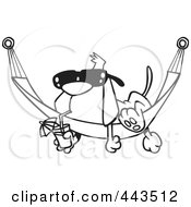 Royalty Free RF Clip Art Illustration Of A Cartoon Black And White Outline Design Of A Dog Lounging On A Hammock