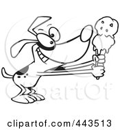 Royalty Free RF Clip Art Illustration Of A Cartoon Black And White Outline Design Of A Dog Holding Out An Ice Cream Cone