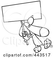 Cartoon Black And White Outline Design Of A Dog Carrying A Sign
