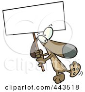 Cartoon Dog Carrying A Sign