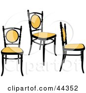 Three Black And Yellow Antique Chairs