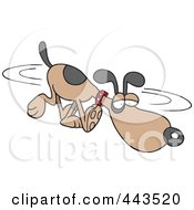 Royalty Free RF Clip Art Illustration Of A Cartoon Dog Sniffing In Circles by toonaday